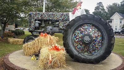 Ridge Spring harvest festival art installation, tractor art, town square art,