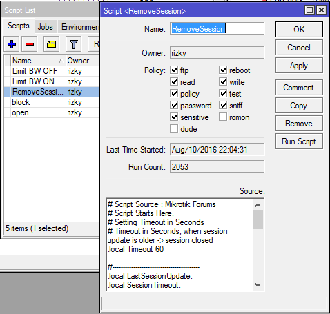 Menambahkan Script Auto Remove Session User Manager Mikrotik