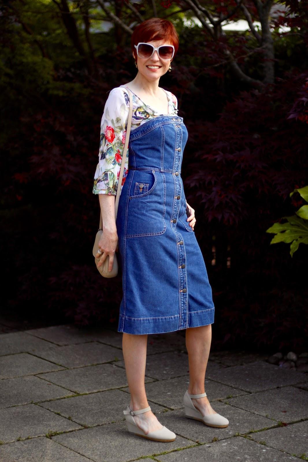 Whistles Denim Bustier Dress, Chiffon Floral Blouse, Clarks Original Wedges | Fake Fabulous