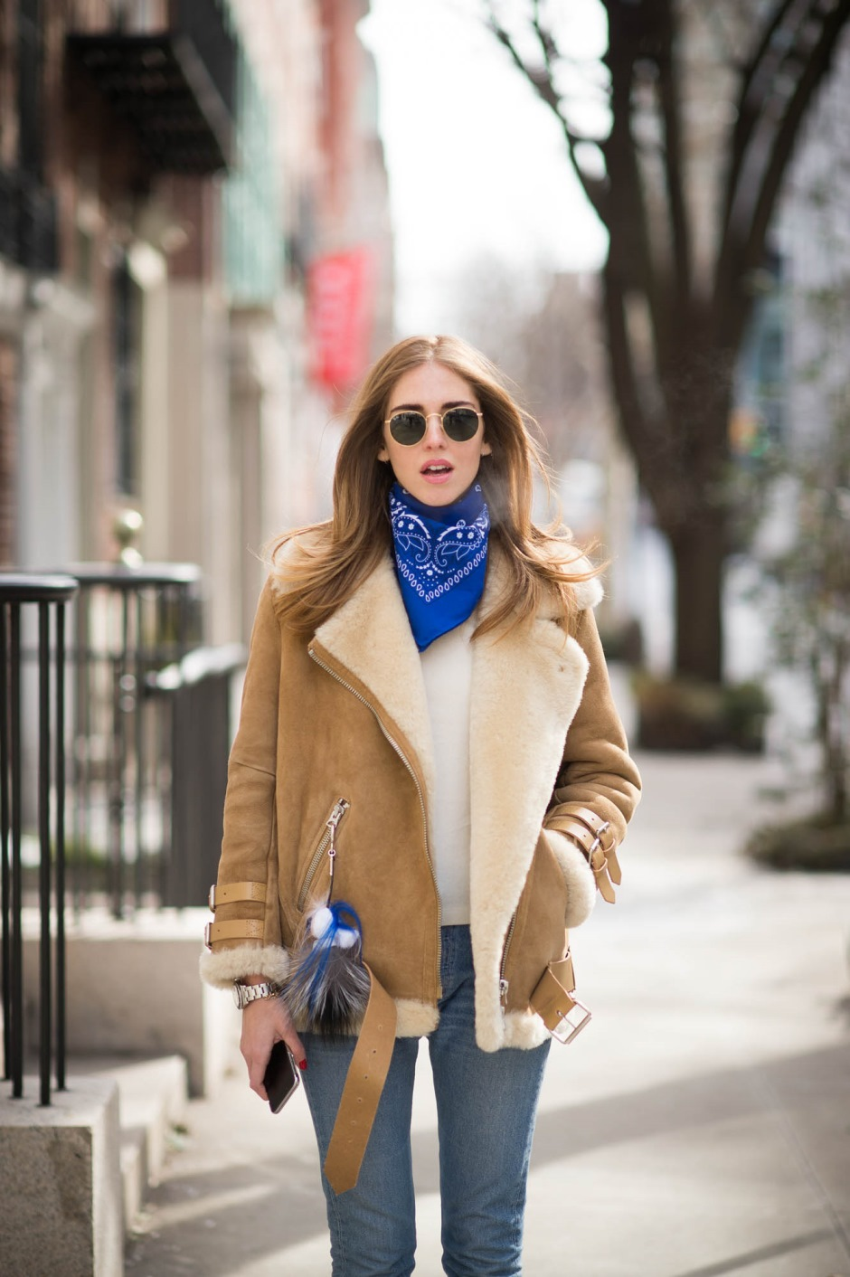 Chiara Ferragni The Blonde Salad, Shearling Aviator Jacket - Fashion Week