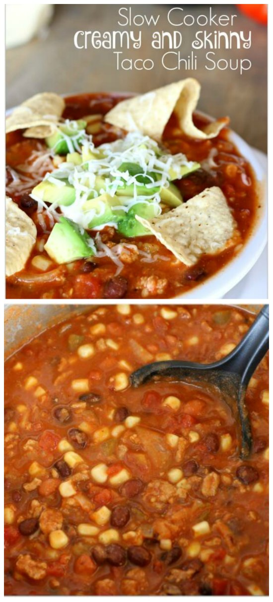 Slow Cooker Creamy Skinny Taco Chili Soup from 365 Days of Slow Cooking featured on SlowCookerFromScratch.com