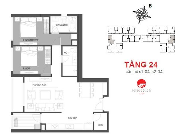 Thiết kế căn 04 - tầng 24 tòa Sachi