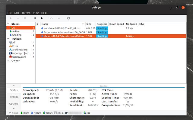 Deluge BitTorrent client 2.0 Linux