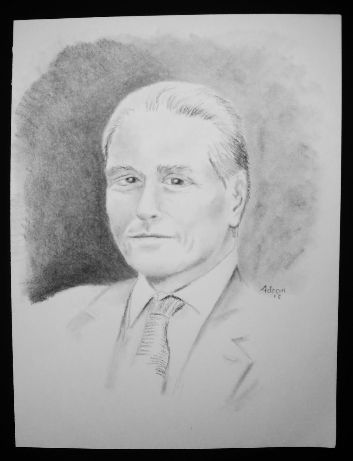 Portraits By Adron Charcoal Sketch Of Man With Silver Hair