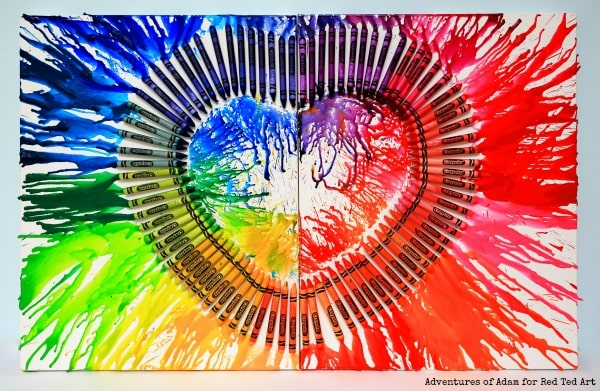 make this beautiful melted crayon as a homemade Valentines gift everyone will love