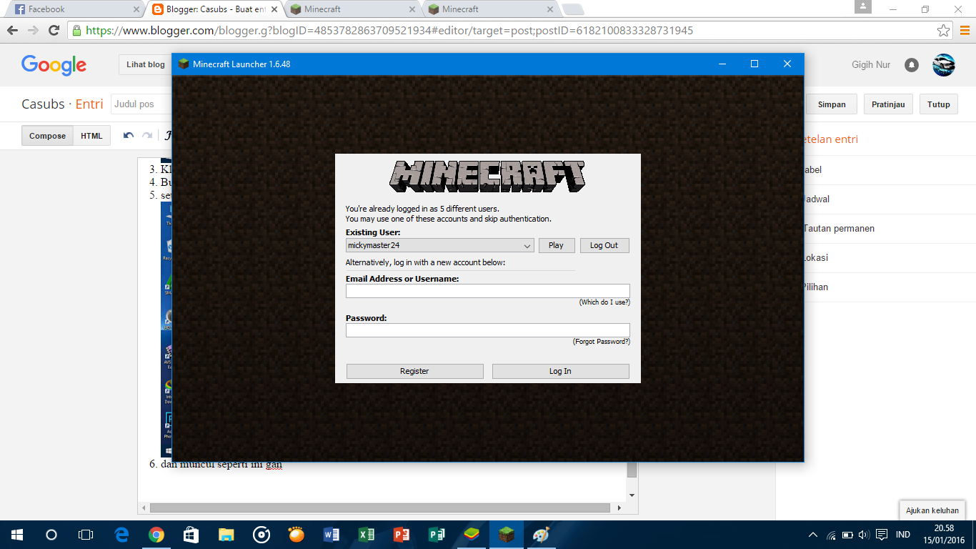 Alison Handley Login Akun Minecraft