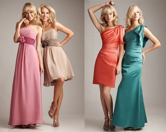 bridesmaid dresses in knee or long length