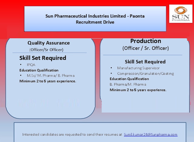 SUN PHARMA Urgent Recruitment for Quality Assurance & Production -  Apply Now