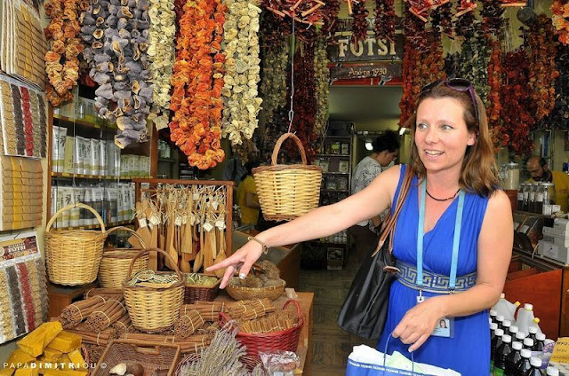 Sampling the fragrant spices at the Athens street market district