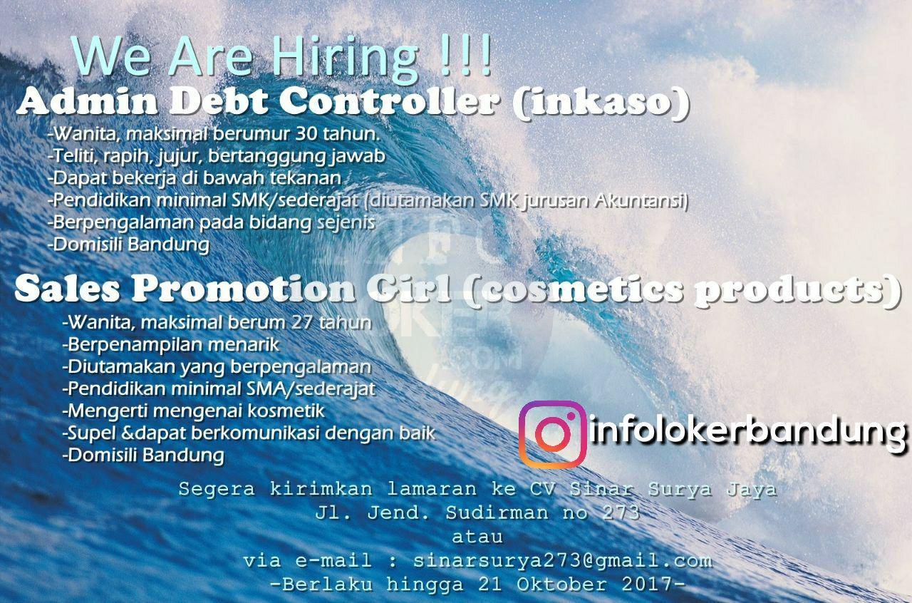 Lowongan Kerja Admin Debt Contorll & SPG ( Cosmetic Product ) CV. Sinar Surya Jaya Oktober 2017