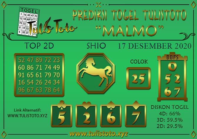 Prediksi Togel MALMO TULISTOTO 17 DESEMBER 2020