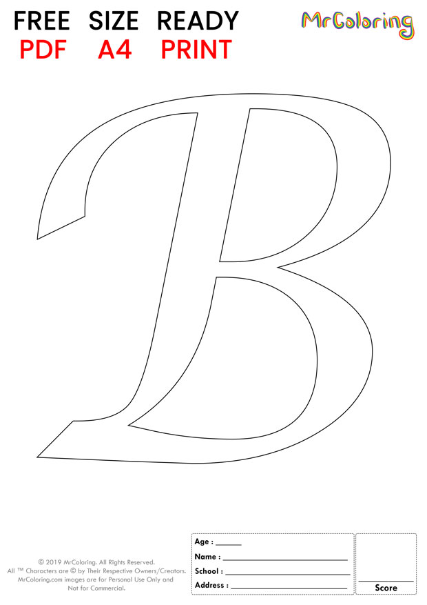 Alphabet letter B coloring pages Uppercase or Capital Caligraphy for kids