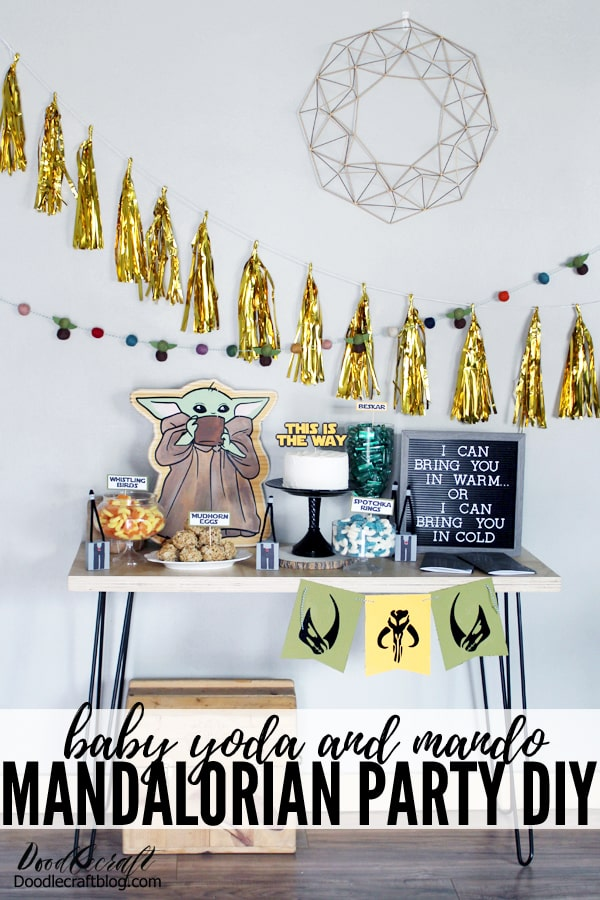 I can bring you in warm or I can bring you in cold. Mandalorian series from Disney plus inspired Baby yoda party with diy crafts for decorations, fun treats including splotchka rings, mudhorn eggs and beskar, plus handmade party favors for take home gifts.