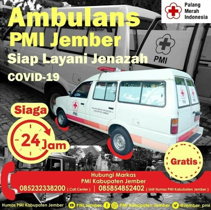 Pandemi Covid -19, PMI Jember Sumbangkan Pelayanan Ambulan   Gratis Siap Layani Jenasah  Covid -19