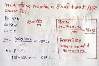 Simple Interest Handwritten Notes
