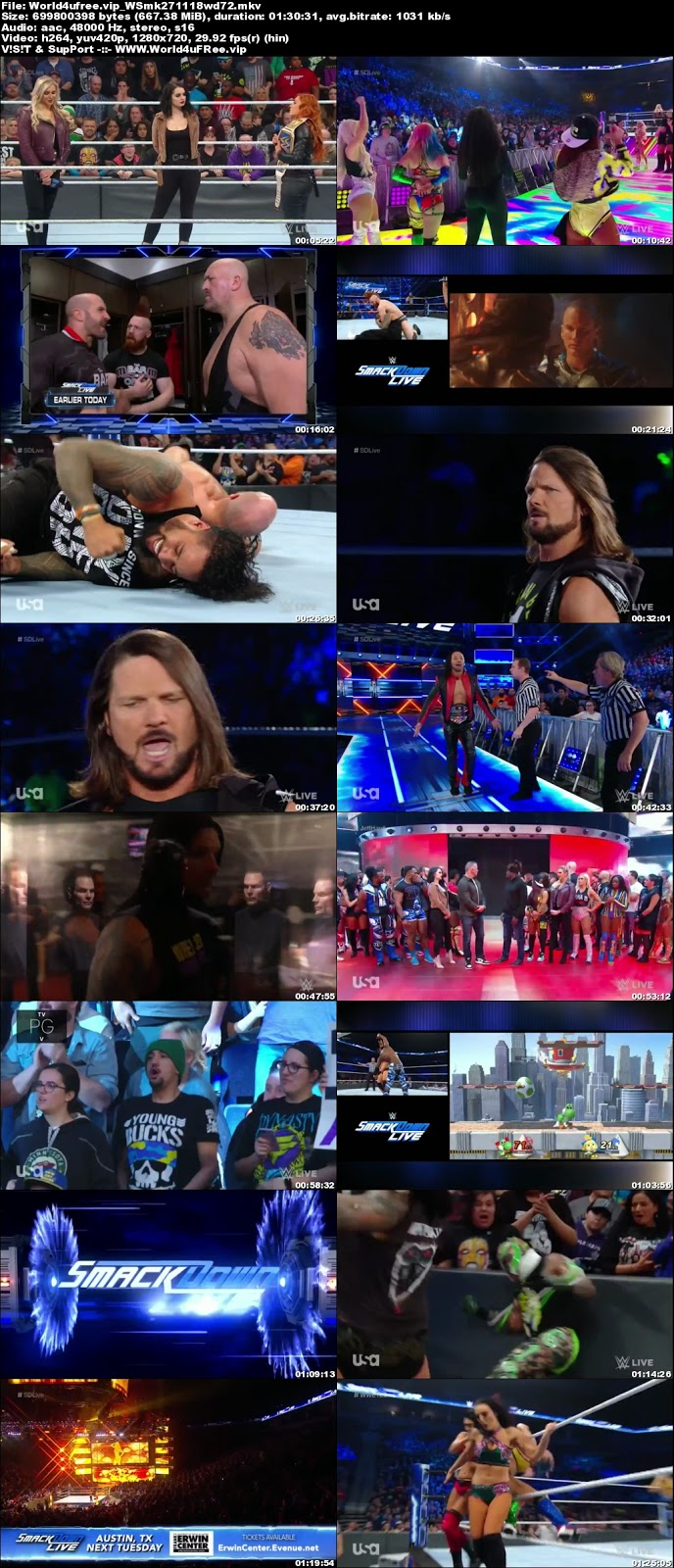 WWE Smackdown Live 27 NOVEMBER 2018 720p HDTV 600MB x264tv show wwe WWE Smackdown Live 23 OCTOBER 2018 HDTV 480p 650MB x264 compressed small size free download or watch online at world4ufree.vip
