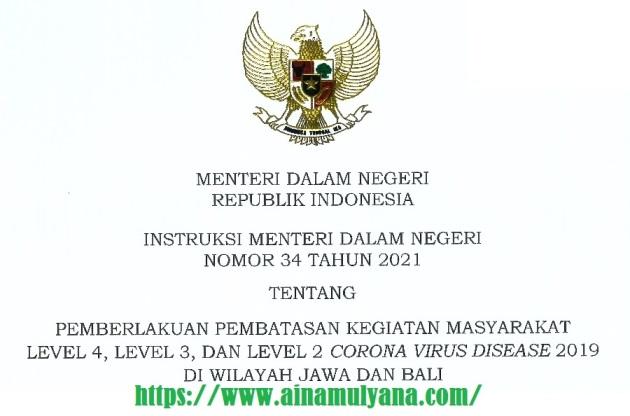 Instruksi Mendagri Nomor 34 Tahun 2021 tentang PKKM Level 4, Level 3, dan Level 2 Wilayah Jawa dan Bali