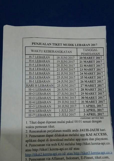 jadwal pesan tiket kereta api lebaran tahun 2017