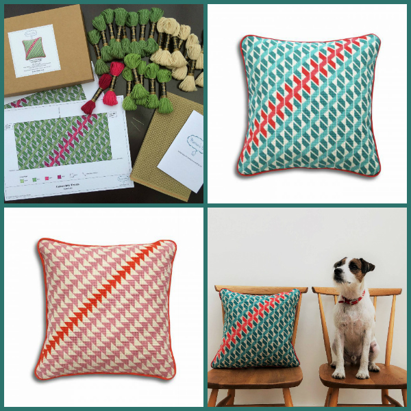 Inside Marina's Home Needlepoint Cushion Kit and finished cushions