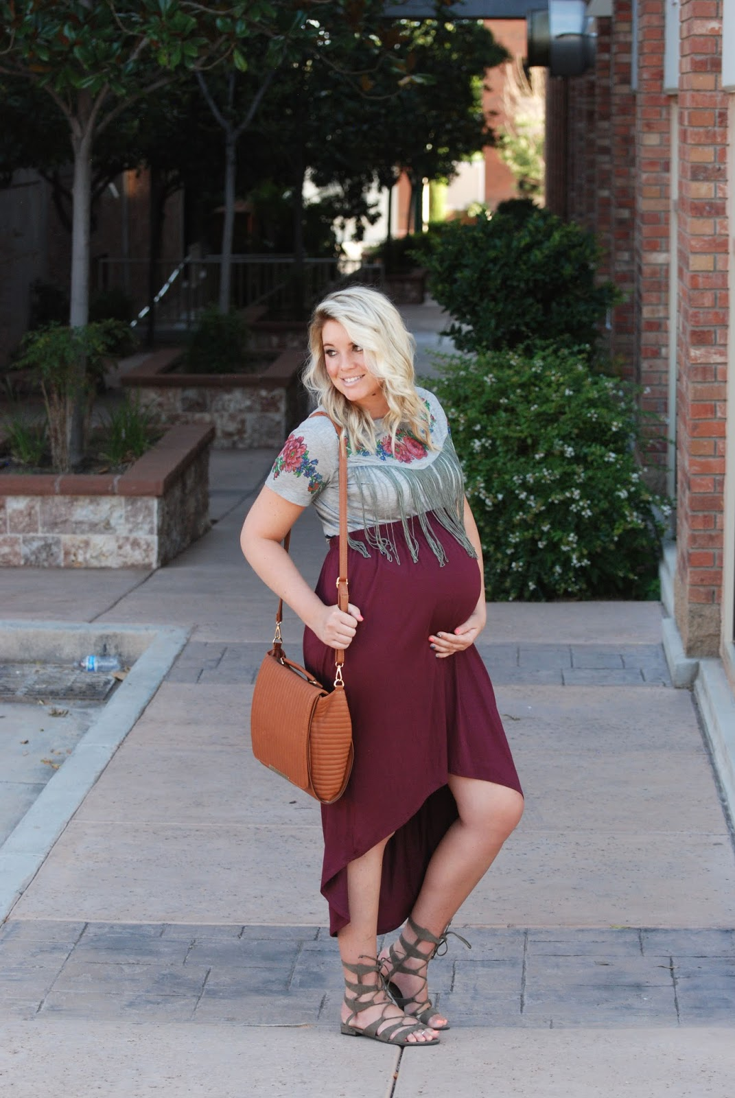 Fringe Top, High Low Skirt, Camel Shoulder Bag, Maternity Outfit