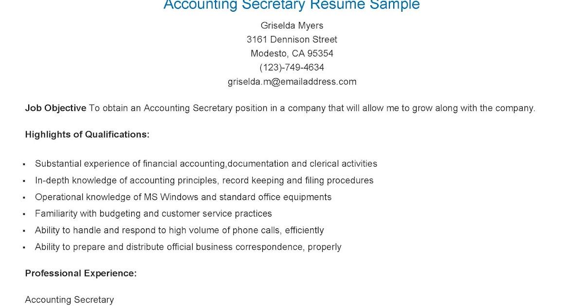 Resume Samples: Accounting Secretary Resume Sample