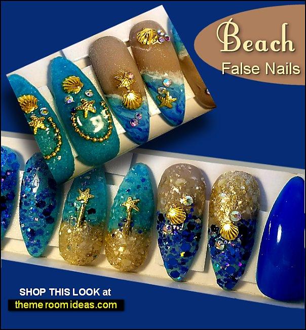 Beach Nails ocean nails sandy nails nautical nails summer vacation False Nails