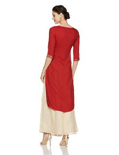 Boat Neck, Calf Length, Kurti-Kurta, Printed, Red, Three Quarter Sleeve, WforWoman,
