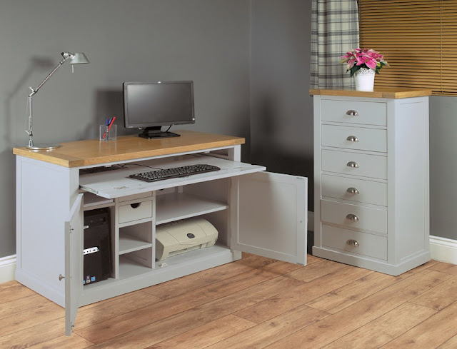 best white wood home office desk with printer storage for sale cheap