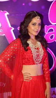 Actress Rashi Khanna Stills in Red Lehenga Choli at Apsara Awards 2016  0023.jpg