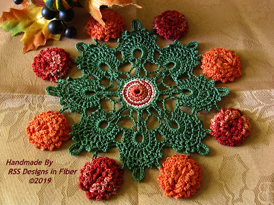 Fall or Autumn Flower Doily with Burnt Orange and Copper Crochet Flowers - Handmade By Ruth Sandra Sperling at RSS Designs In Fiber