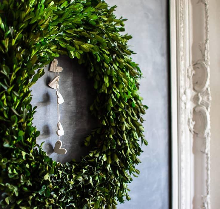 wreath with heart garland