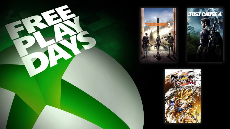 dragon ball fighterz just cause 4 tom clancy's the division 2 xbox live gold free play days event