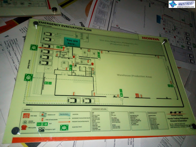 Acrylic Evacuation Plan With Stainless Bolts  - Honda Philippines