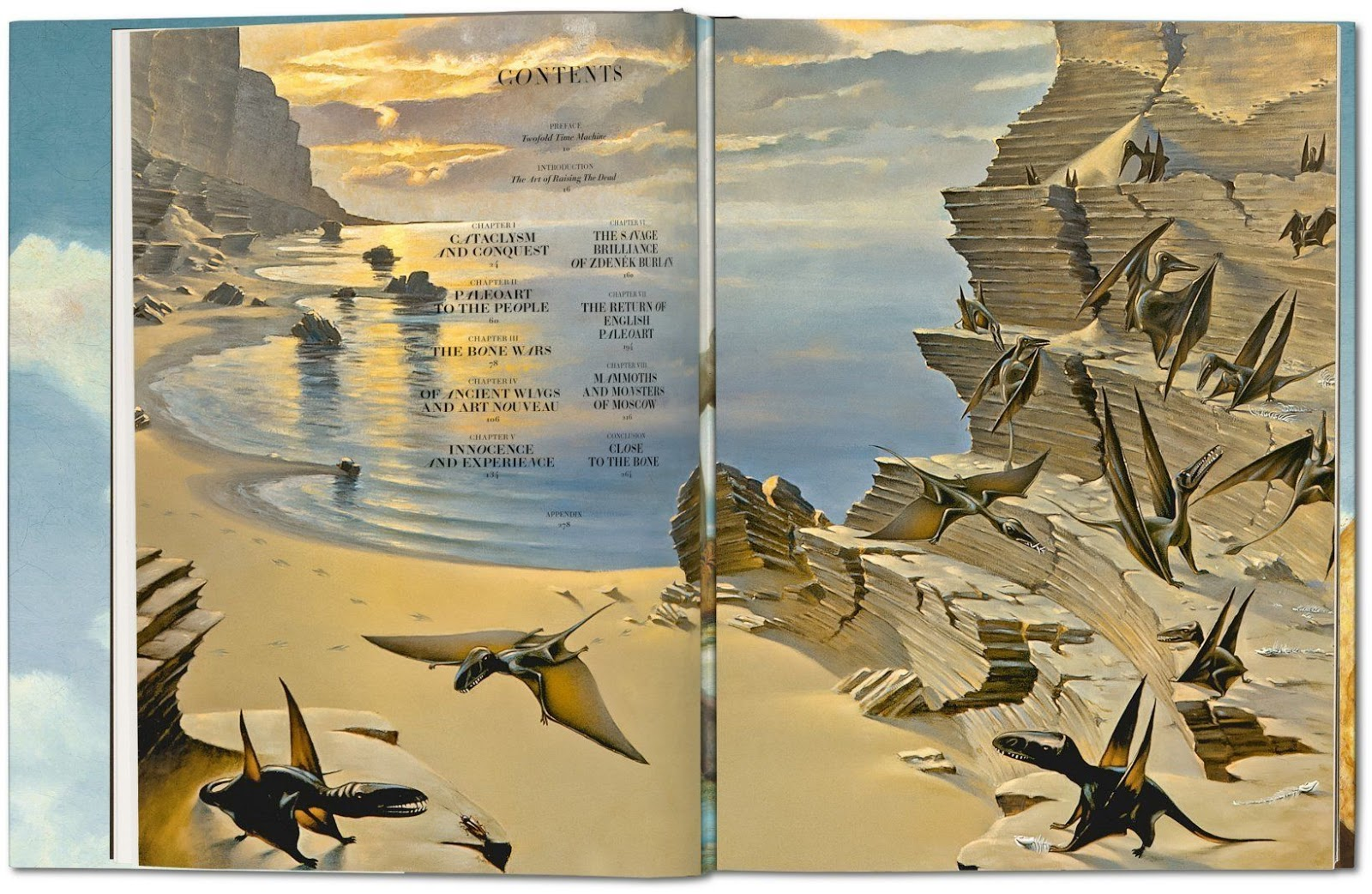 The contents page from Taschen's 'Paleoart.'