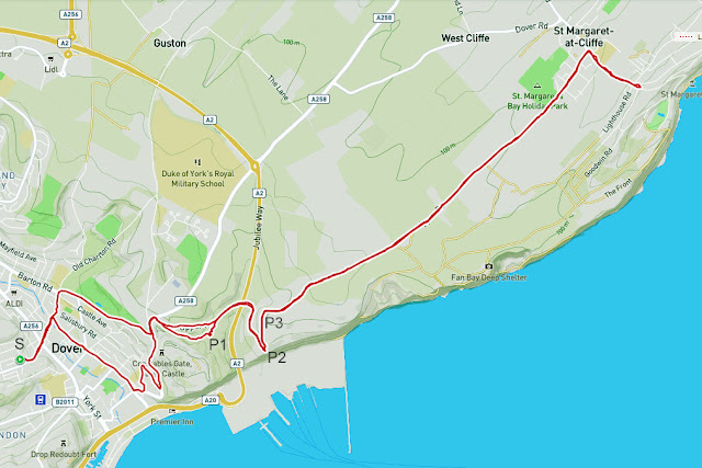 "Bike ride route map for 1st April, 2020. 6 Robsons Yard (Tower Hamlets) to Dover Castle and then the White Cliffs of Dover above the Eastern Docks. Then on to the ""Ornamental Boat"" at St Margaret's-at-Cliffe that commemorates the 2012 London Olympic Games. Returned via same roads."