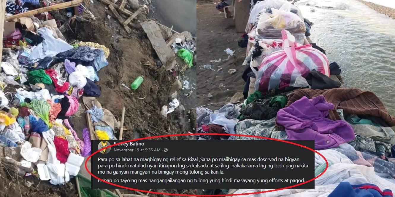 Mga donation na damit para sa mga apektado ng bagyo, itinapon lang sa ilog at kalsada
