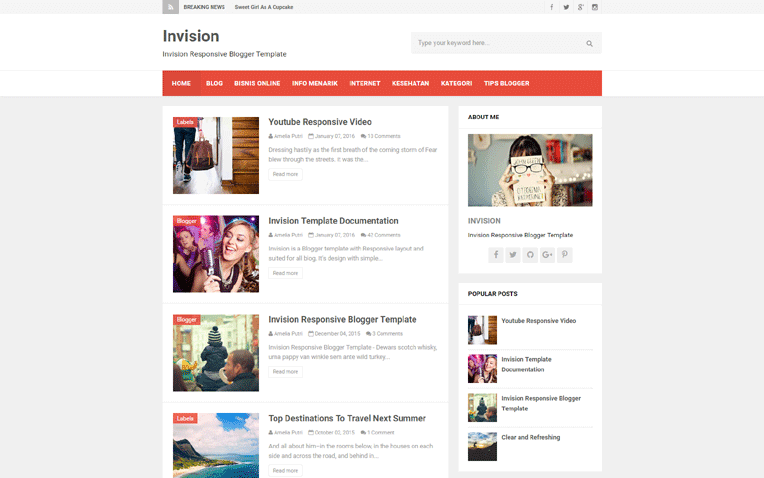 Invision Free Blogger Template