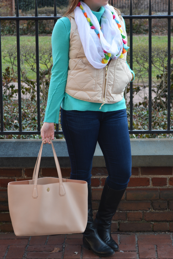 Colorful spring style for chilly weather.