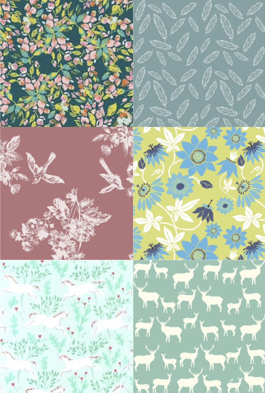 7ceb8bf764c Peek-A-Boo Pattern Shop also carries lots of our favorite fabrics from  companies like (clockwise from top left) Art Gallery Fabrics, Riley Blake  Designs, ...