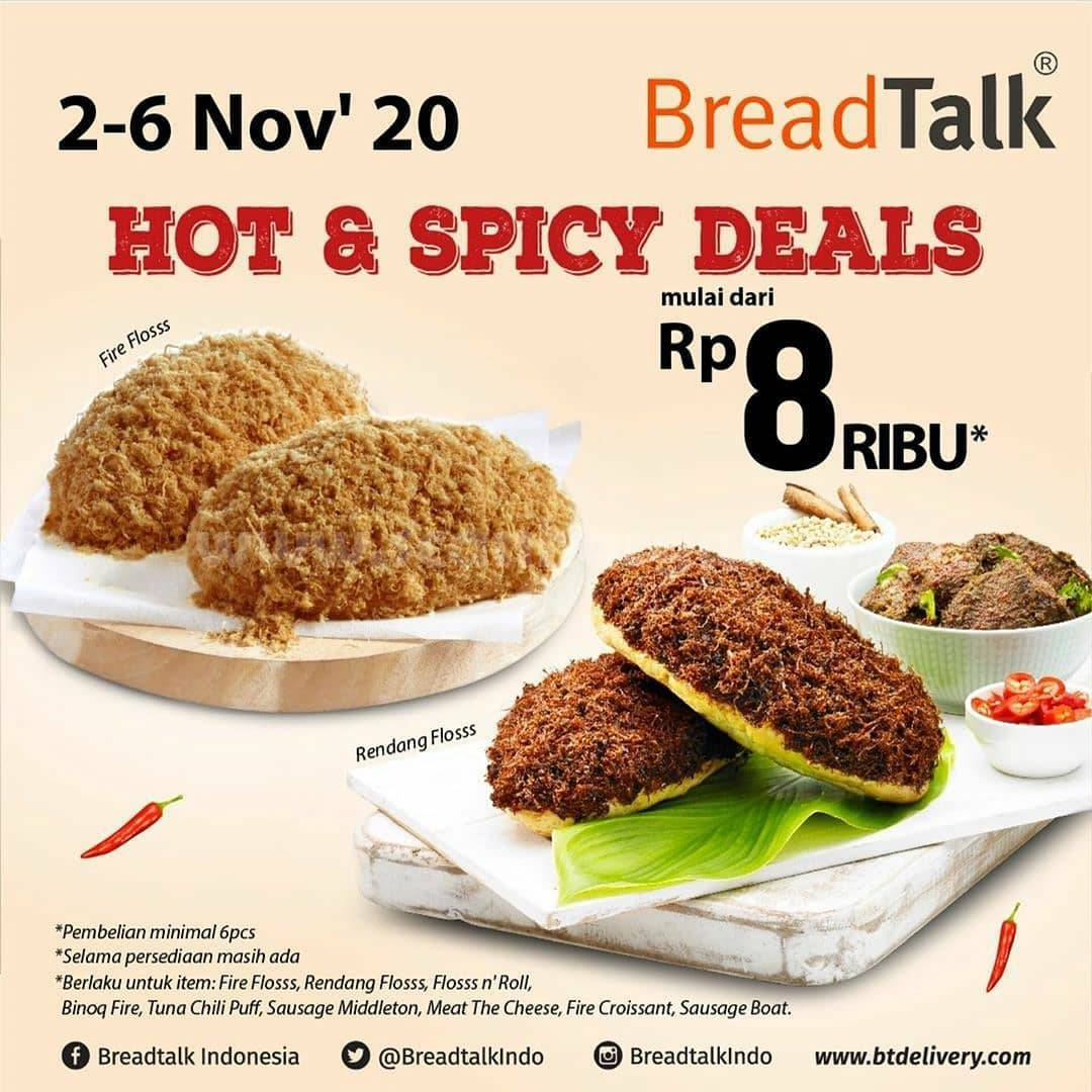 Breadtalk Promo HOT & SPICY DEALS! All Spicy Flavours harga mulai Rp.8.000*