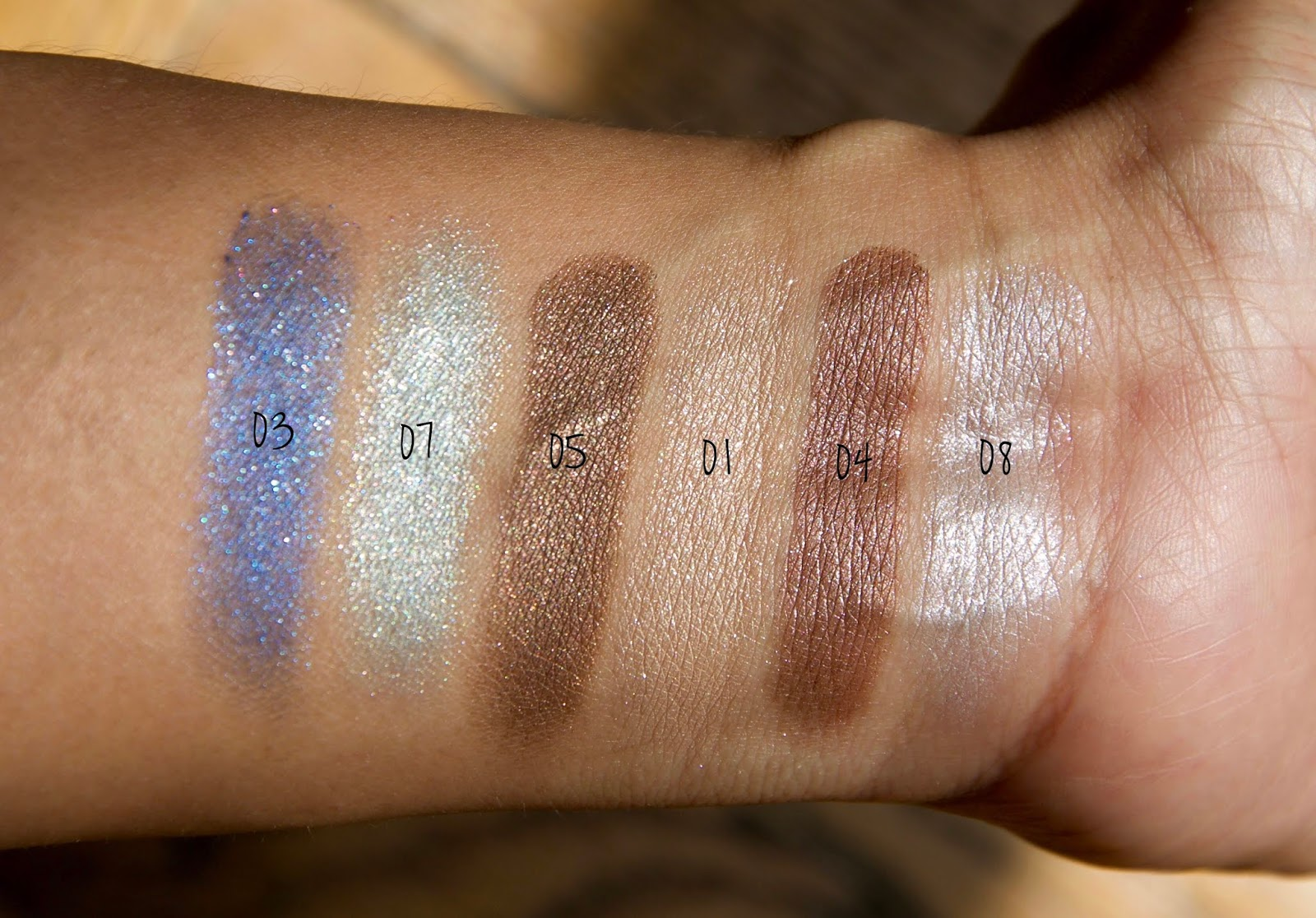 Paul and Joe Sparkling Eye Color Swatches