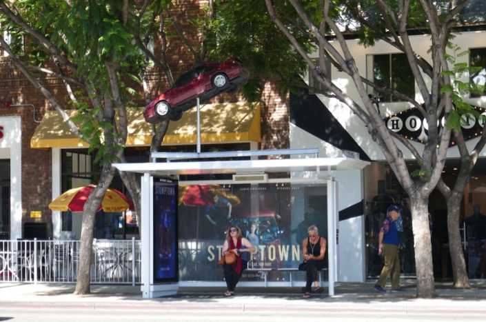 Stumptown bus shelter car installation