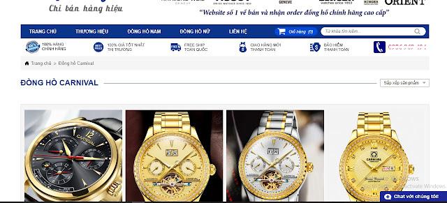 website bán đồng hồ carnival không chính hãng