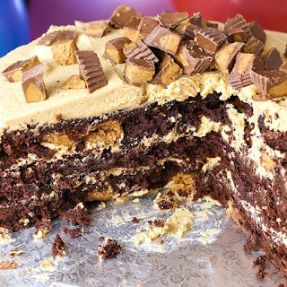 Reese's Peanut Butter Cup Extreme Brownie Cake