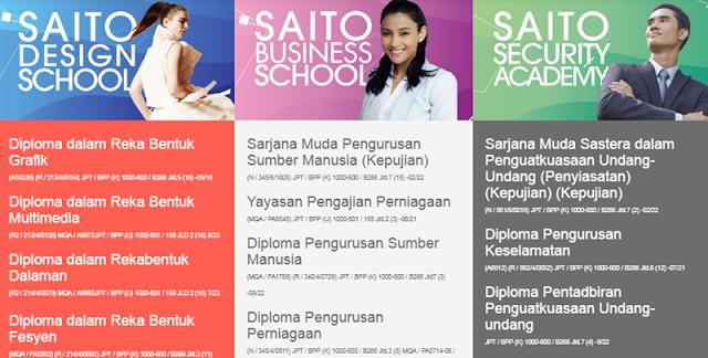 Senarai Kursus di Saito University College