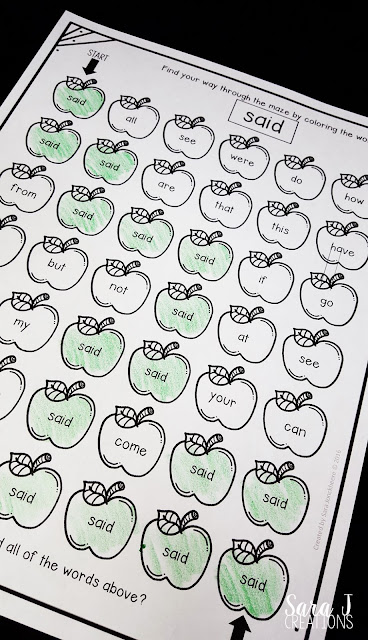 Free sight word practice pages with an apple theme.