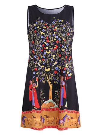 3D Printed Sleeveless O-Neck Mini Dresses For Women