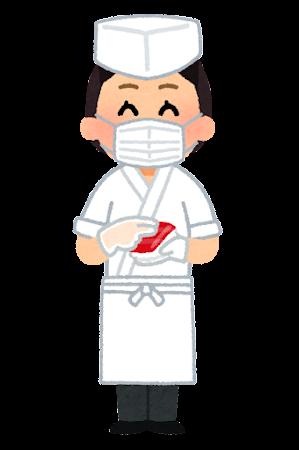 マスクを付けた寿司職人のイラスト(女性)