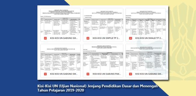 Kisi-Kisi UN (Ujian Nasional) Jenjang Pendidikan Dasar dan Menengah Tahun Pelajaran 2019-2020