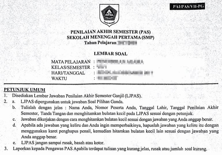 Soal Pas Bahasa Sunda Kelas 7 Kurikulum 2013 Revisi Tahun 2019 Informasi Akreditasi
